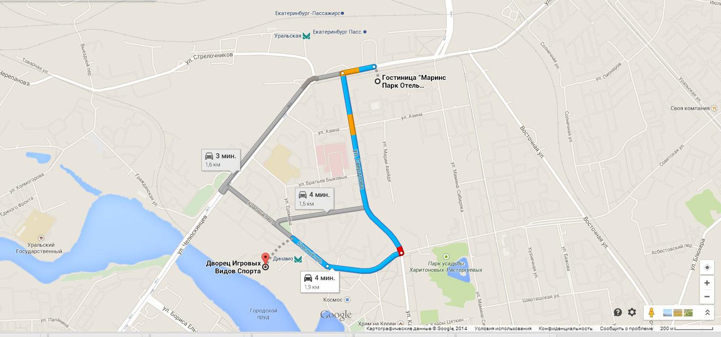 Как проехать от отеля «Маринс Парк Отель» до ДИВС, Екатеринбург