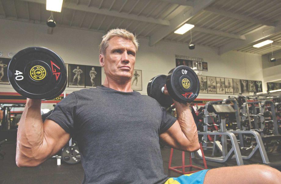 Дольф Лундгрен на съемках для «Muscle & Fitness»