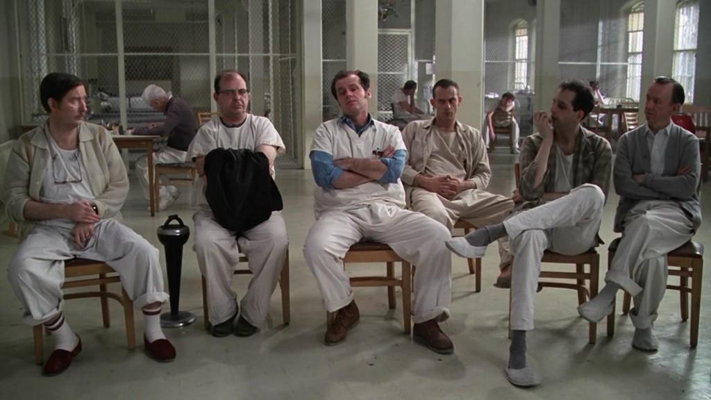 Кадр из фильма «Пролетая над гнездом кукушки» 1975 г.