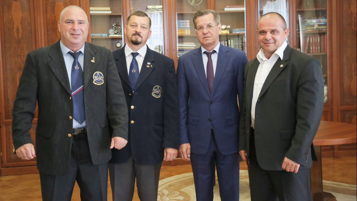Александр Сорокопуд, Олег Степанюк, Виктор Малеев и Губернатор Астраханской области Александр Жилкин