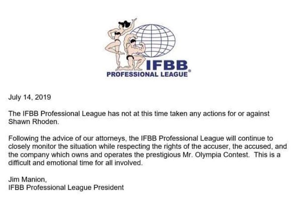 Реакция IFBB Pro League на дело Шона Родена