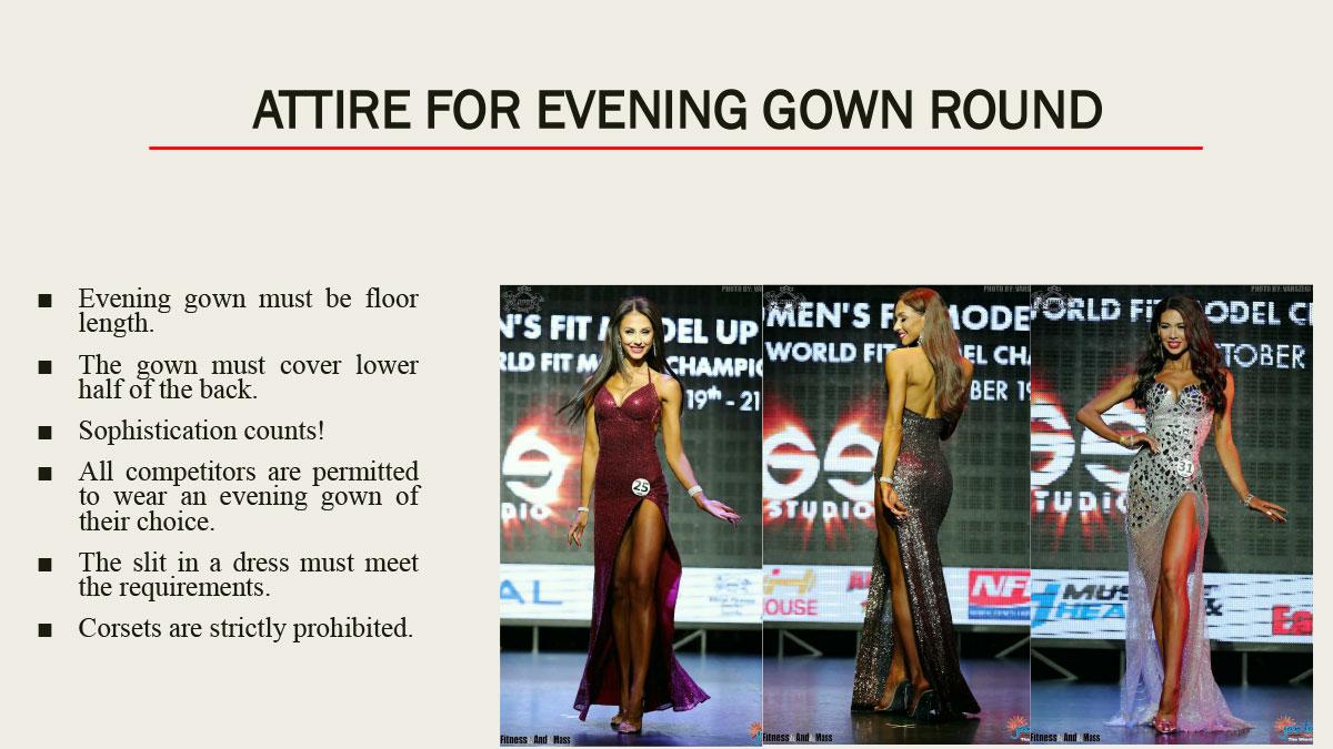 Требования к вечерним платьям IFBB Women