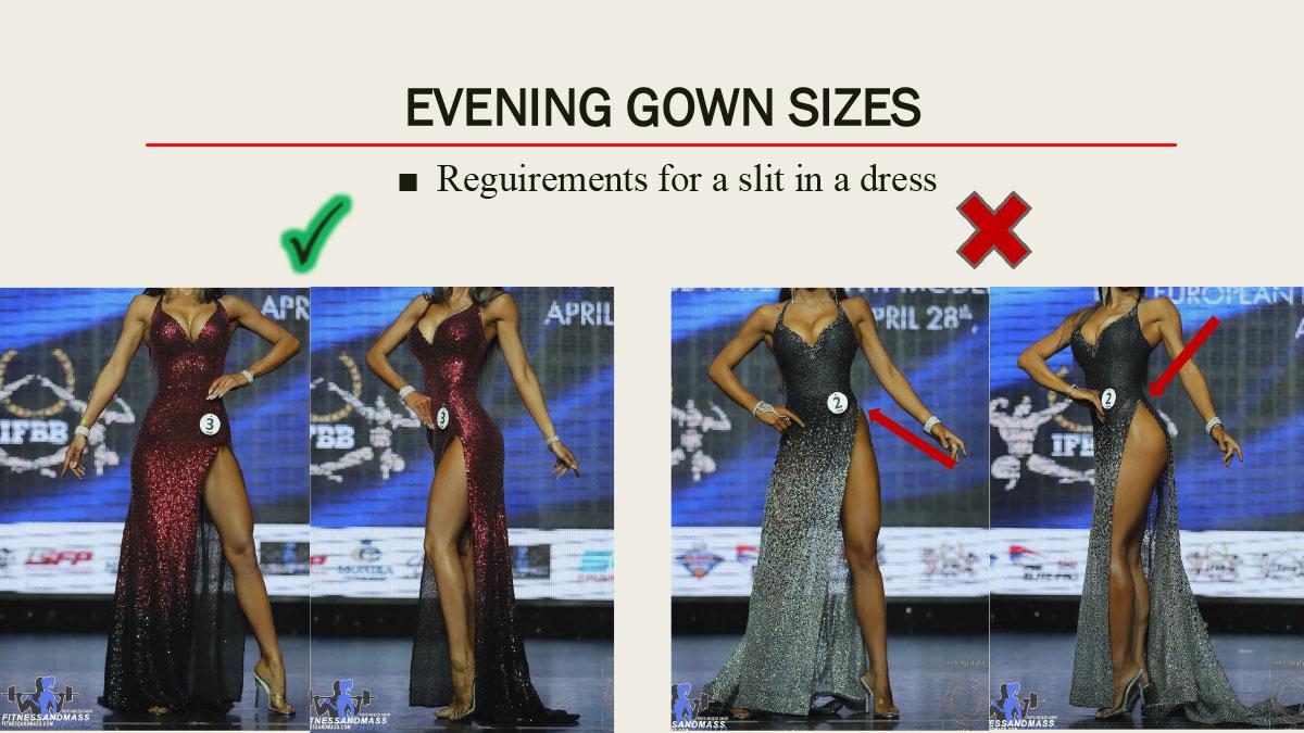Размер разреза в платье IFBB Women