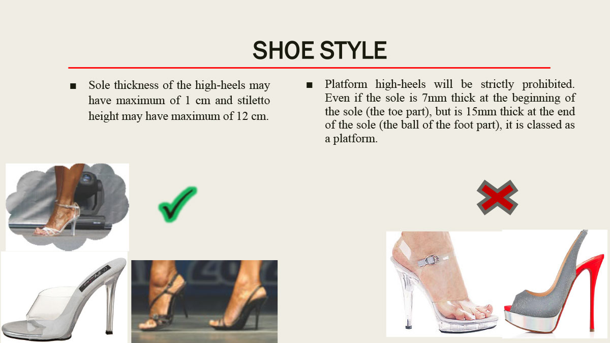 Требования к туфлям IFBB Women