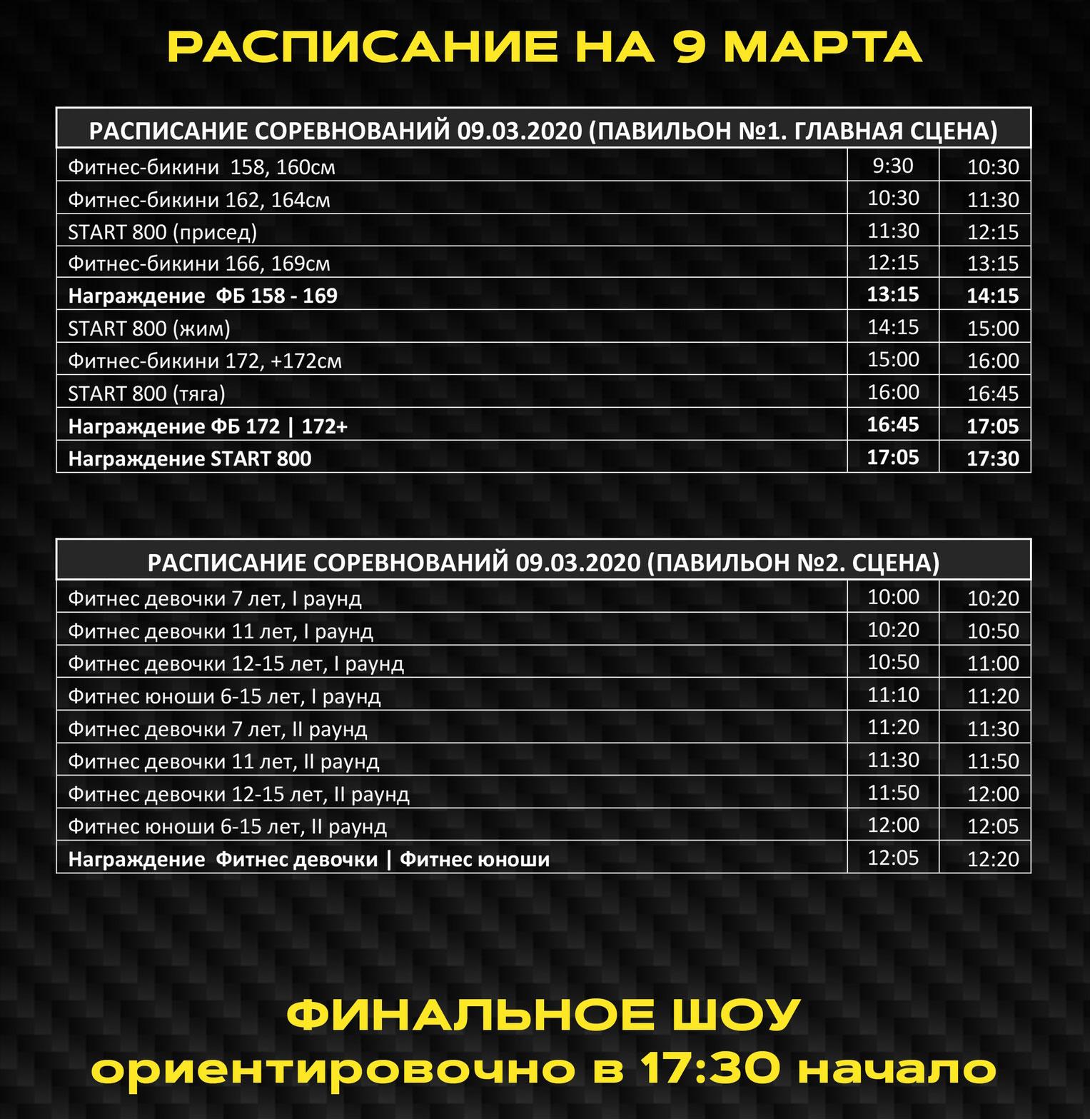 Расписание «Siberian Power Show» – 2020 на 9 марта