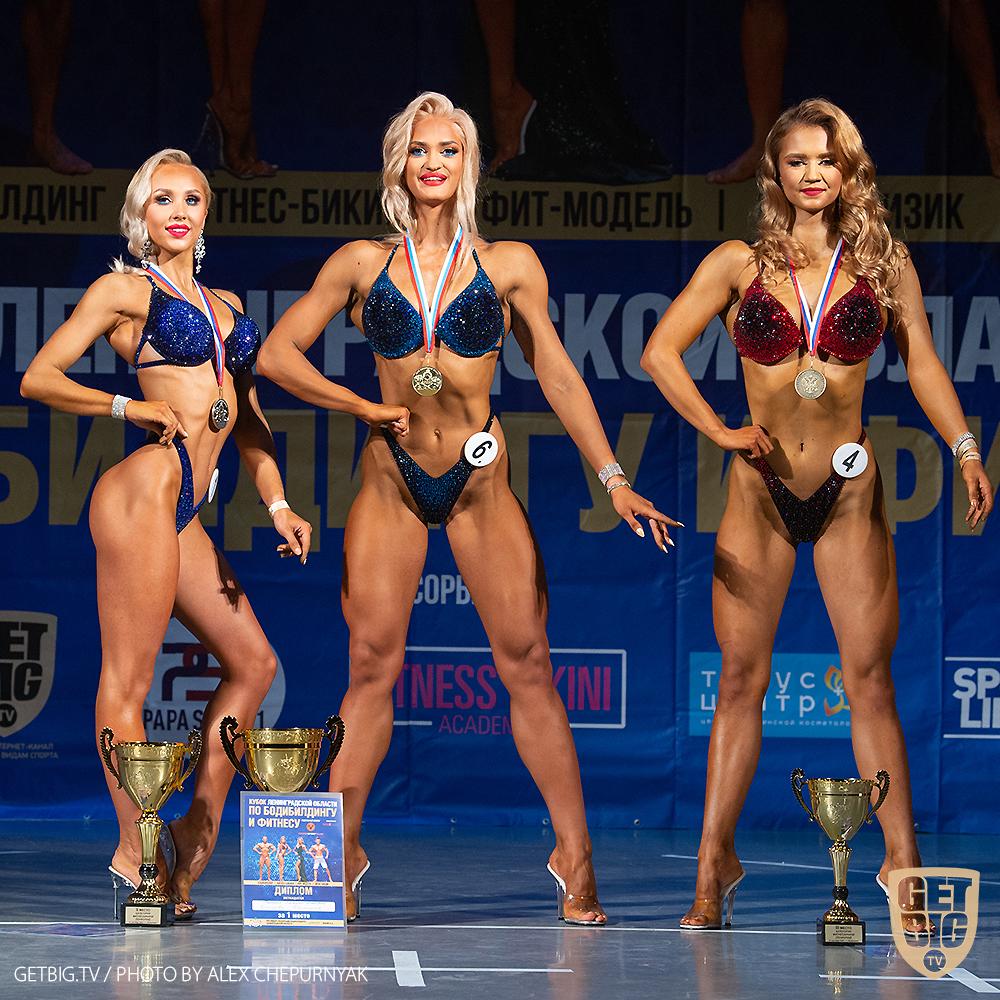 ТОП-3 фитнес-бикини юниорки: Кристина Кудинова (#6), Виктория Власова (#1), Елизавета Золотарева (#4)